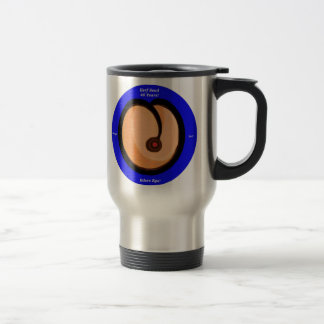 HS Peach Round Blue Border HerfScud Travel Mug