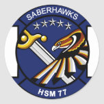HSM-77 Saberhawks Round Stickers