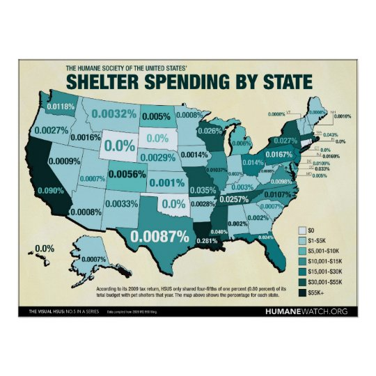 HSUS Shelter Spending by State Poster