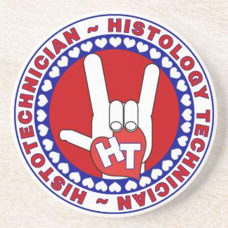 HT HISTOTECHNICIAN HISTOLOGY TECH LOVE LOGO ASL DRINK COASTER