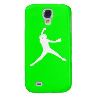 HTC Vivid Fastpitch Silhouette White/Green Galaxy S4 Case