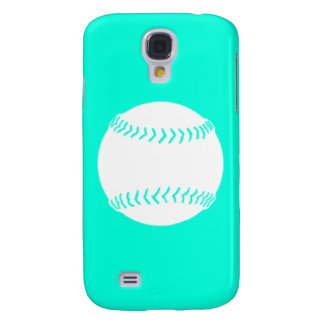 HTC Vivid Softball Silhouette White/Turquoise Samsung Galaxy S4 Cover