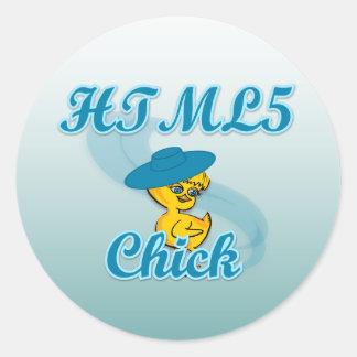HTML5 polluelo #3 Pegatina Redonda