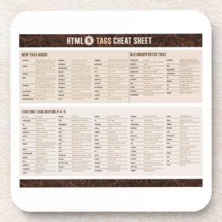HTML5 Tags Cheat Sheet Coaster