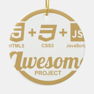 HTML5 Web Designer Awesome Css3 Tshirt Double-Sided Ceramic Round Christmas Ornament