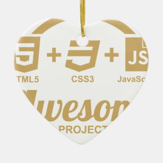 HTML5 Web Designer Awesome Css3 Tshirt Double-Sided Heart Ceramic Christmas Ornament