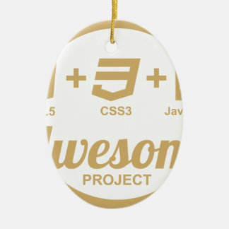 HTML5 Web Designer Awesome Css3 Tshirt Double-Sided Oval Ceramic Christmas Ornament