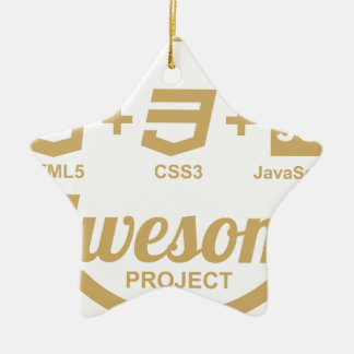 HTML5 Web Designer Awesome Css3 Tshirt Double-Sided Star Ceramic Christmas Ornament