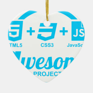 HTML5 Web Designer Awesome Project Css3 Tshirt Double-Sided Heart Ceramic Christmas Ornament