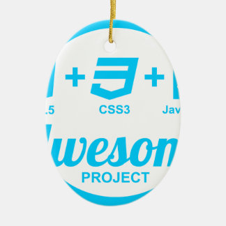 HTML5 Web Designer Awesome Project Css3 Tshirt Double-Sided Oval Ceramic Christmas Ornament