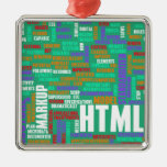 HTML 5 or HTML5 Square Metal Christmas Ornament