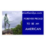 http://Patriotfamilys.com.. Tarjetas De Visita
