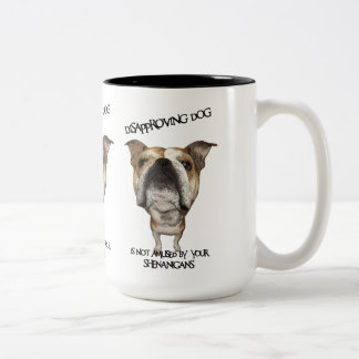 http://www.zazzle.com/disapproving_dog_bulldog_not Two-Tone coffee mug