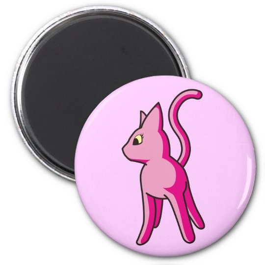 Hu - cat magnet of pink - Foo! - Pink kitty Magnet