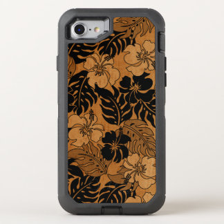Huakini Bay Hawaiian Hibiscus Vintage Faux Wood OtterBox Defender iPhone 8/7 Case