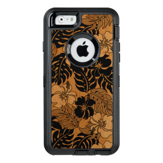 Huakini Bay Hawaiian Hibiscus Vintage Faux Wood OtterBox Defender iPhone Case