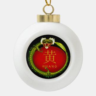 Huang Monogram Dragon Ceramic Ball Christmas Ornament