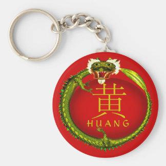 Huang Monogram Dragon Basic Round Button Keychain