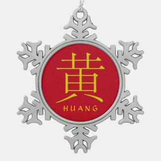 Huang Monogram Snowflake Pewter Christmas Ornament