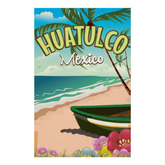 Huatulco Mexican travel poster