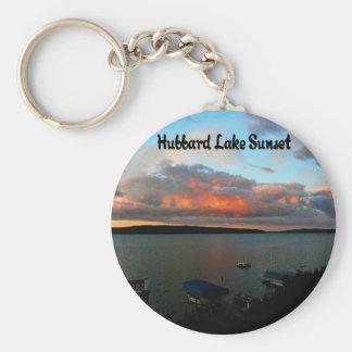 Hubbard Lake Sunset Basic Round Button Keychain