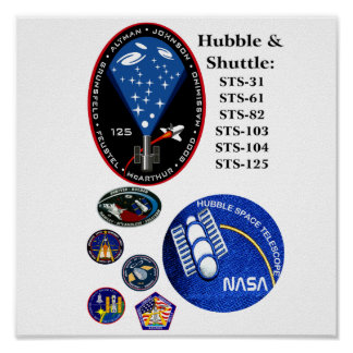 Hubble and The Shuttle Poster
