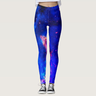 HUBBLE DEEP SPACE NEBULA - WOMEN'S BLUE LEGGINGS