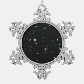 Hubble Frontier Field Abell 2744-Parallel Snowflake Pewter Christmas Ornament