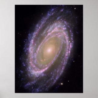 Hubble - imagen compuesta de Galex - de Spitzer de Poster