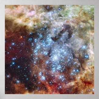 Hubble mira los cúmulos de estrellas en un rumbo d póster