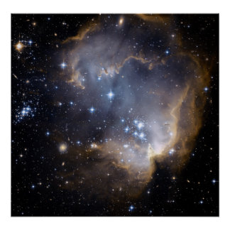 Hubble observa las estrellas infantiles en galaxia poster