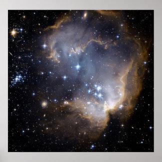 Hubble observa las estrellas infantiles en galaxia póster