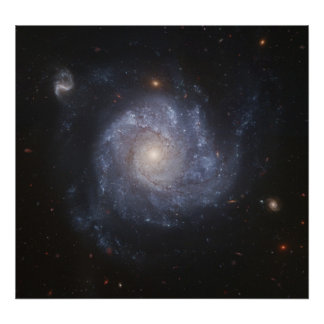 Hubble Snaps Images of a Pinwheel-Shaped Galaxy Poster