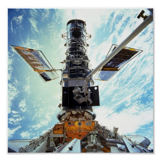 Hubble Space Telescope and astronauts Poster