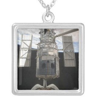 Hubble Space Telescope in Atlantis cargo bay Square Pendant Necklace
