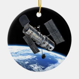 Hubble Space Telescope In Earth Orbit NASA Photo Ceramic Ornament