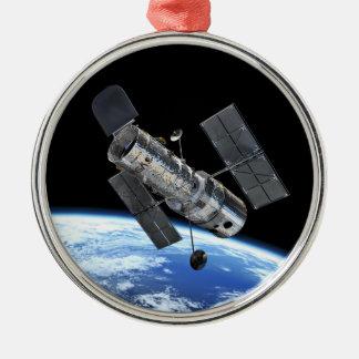 Hubble Space Telescope In Earth Orbit NASA Photo Metal Ornament