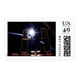 Hubble sunburst with Earth Limb. Stamp