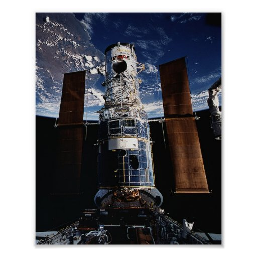 Hubble Telescope docked with Shuttle Endeavour Poster