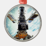Hubble telescope round metal christmas ornament