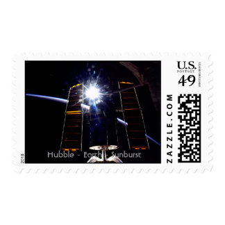 Hubble Telescope with Earth limb and sunburst. Stamps