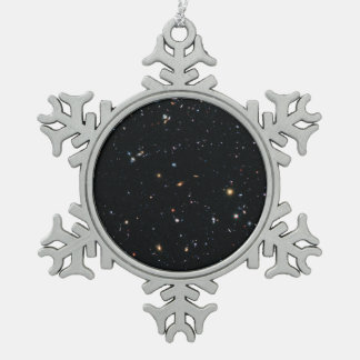 Hubble Ultra Deep Field Continues to Tell Snowflake Pewter Christmas Ornament