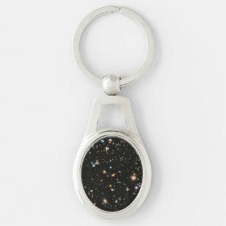 Hubble Ultra Deep Field Silver-Colored Oval Metal Keychain