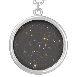 Hubble Ultra Deep Field View of 10,000 Galaxies Round Pendant Necklace