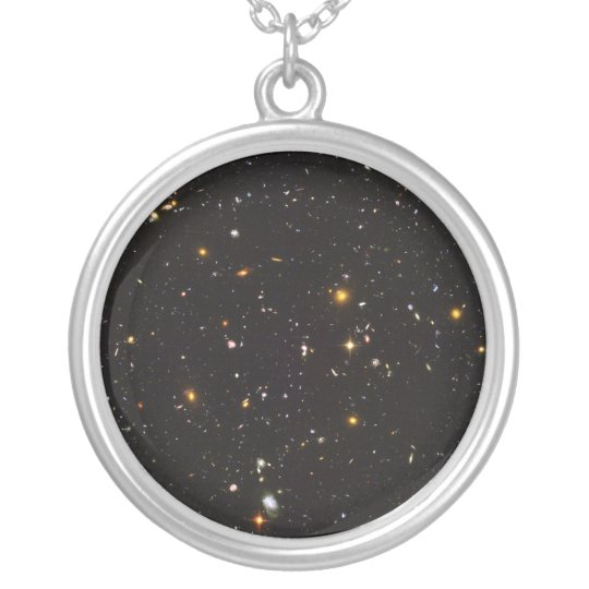 Hubble Ultra Deep Field View of 10,000 Galaxies Silver Plated Necklace