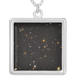 Hubble Ultra Deep Field View of 10,000 Galaxies Square Pendant Necklace