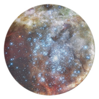 Hubble Watches Star Clusters on a Collision Course Party Plate