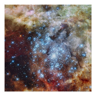 Hubble watches star clusters on a collision course poster