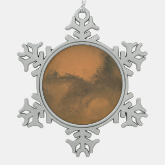 Hubble's Close Encounter with Mars -- August 26, 2 Snowflake Pewter Christmas Ornament