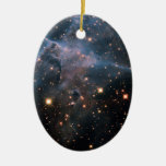 Hubble's 'Mystic Mountain' - Deep Space Double-Sided Oval Ceramic Christmas Ornament